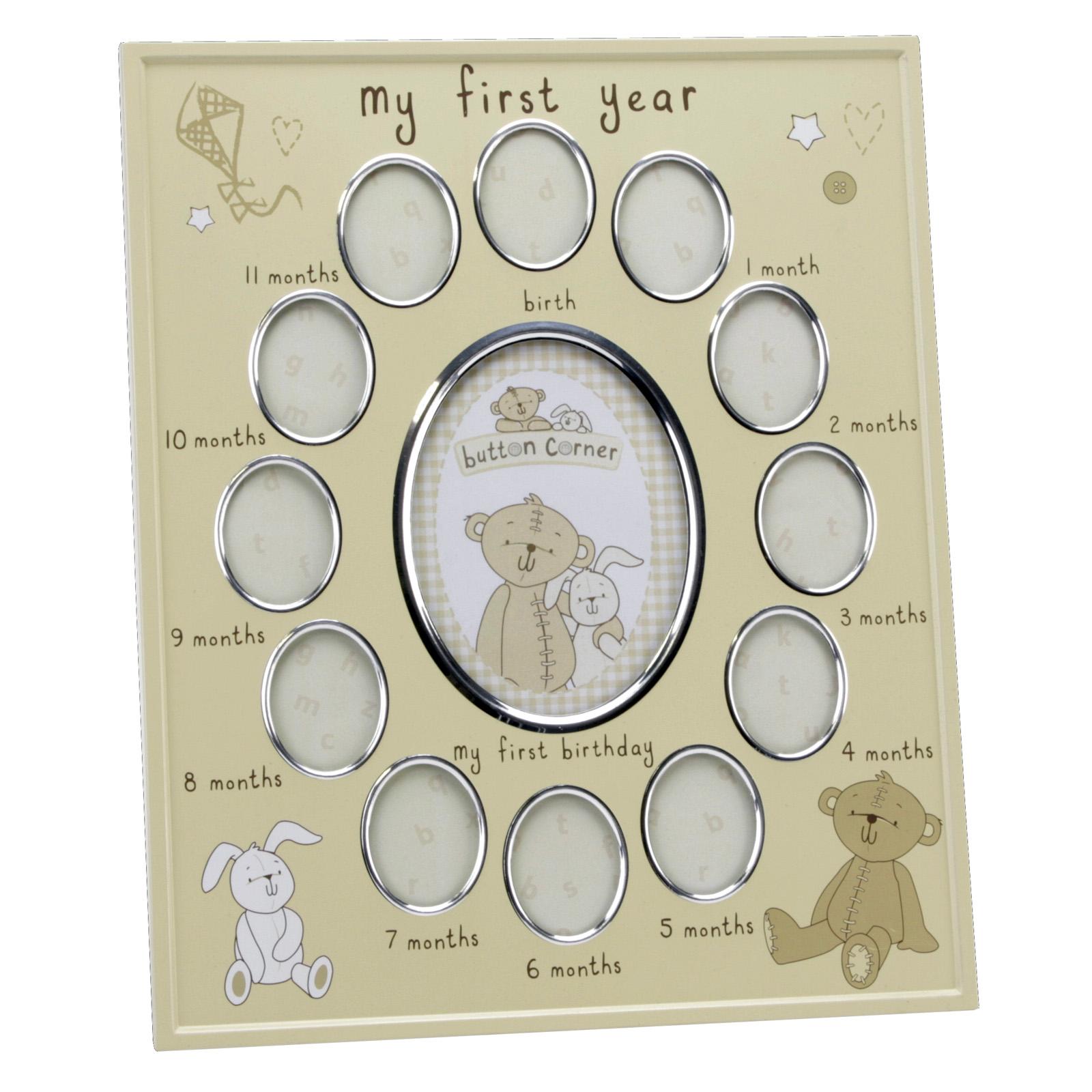 Babys Mein erstes Jahr Bilderrahmen - Button Corner - Aluminium Baby ...