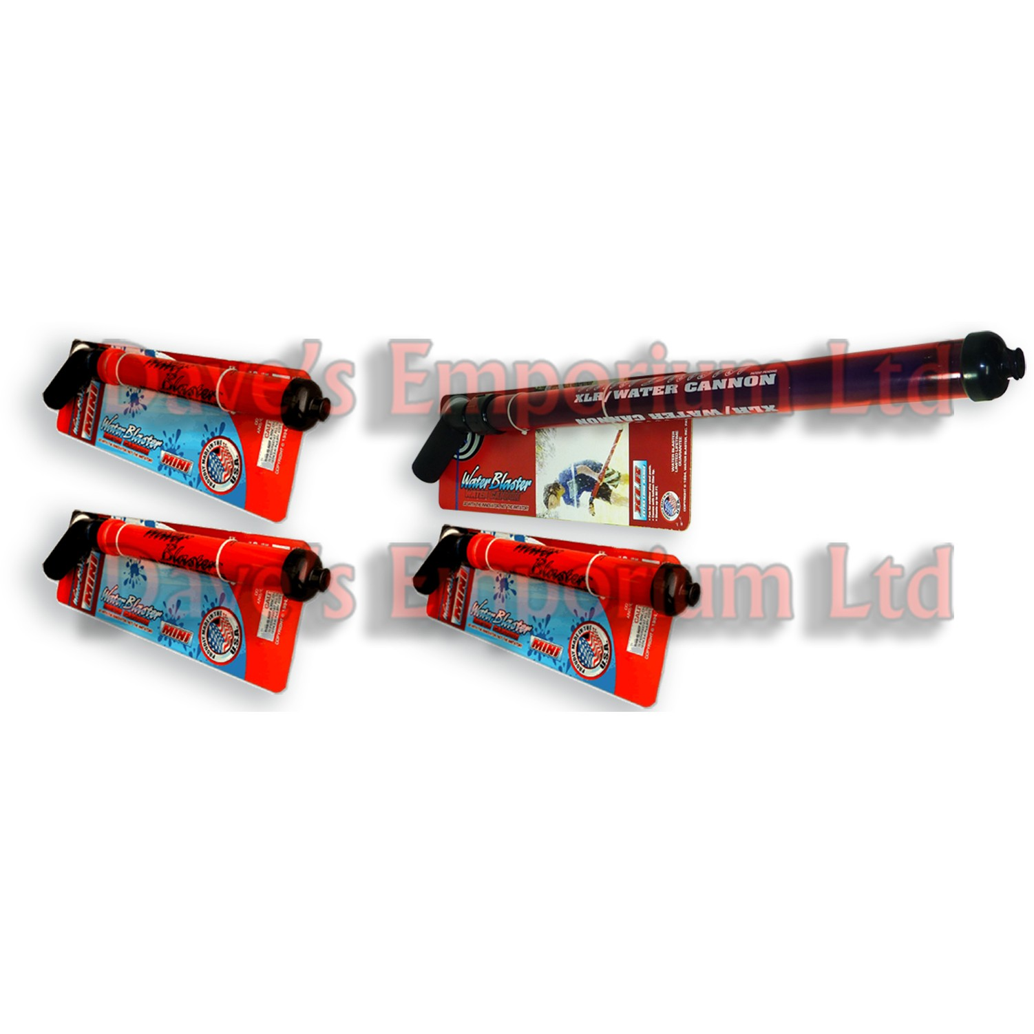 Water Blaster MINI Pack - Soaker Cannon - 3 MINIs and 1 Free XLR - Family Deal