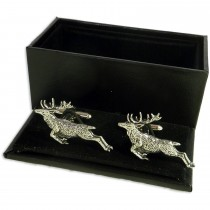 Leaping Stag Cufflinks - Gift Boxed - Deer Shooting Hunting