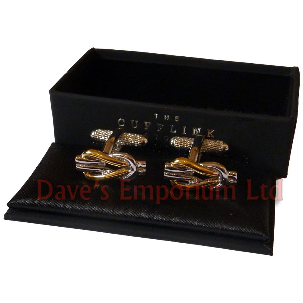 b08fb936895c Oro Plata Reef Knot Gemelos - Regalo en caja - señoras unisex La mancuerna  Tienda